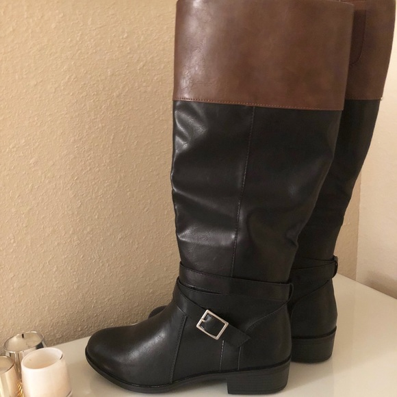 f1a2c259e488d NEW  Tall Black Boots w  brown accent